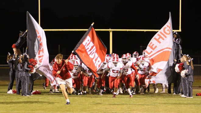 Greenville takes the field for a 2016 football game at Wren. The Red Raiders would move from Region 1-AAAA to Region 2 in the latest SCHSL realignment proposal.