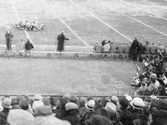 A sideline view of what is now known as Clemens Stadium