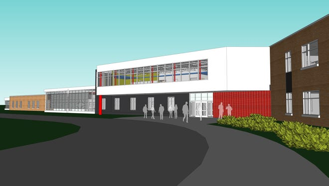 A rendering shows the new Hoover Elementary School in eastern Iowa City. Once it's open, other schools and staff will use the building until fall 2019, when the new Hoover will be open to its own student body.