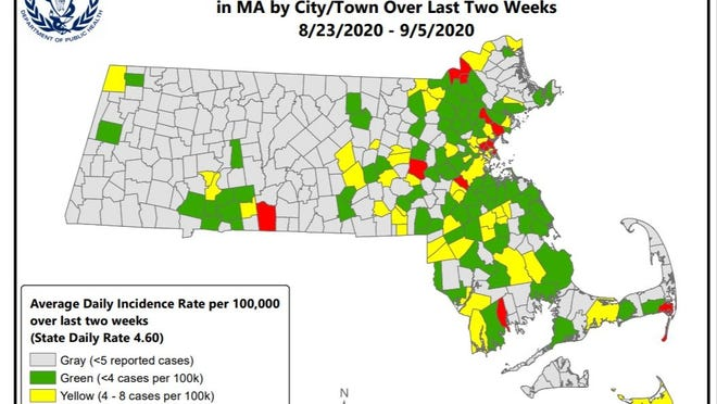 Hingham has moved from the gray designation for towns with the lowest rate of new COVID-19 cases to green, the second-lowest designation. Image from the Massachusetts Department of Public Health.