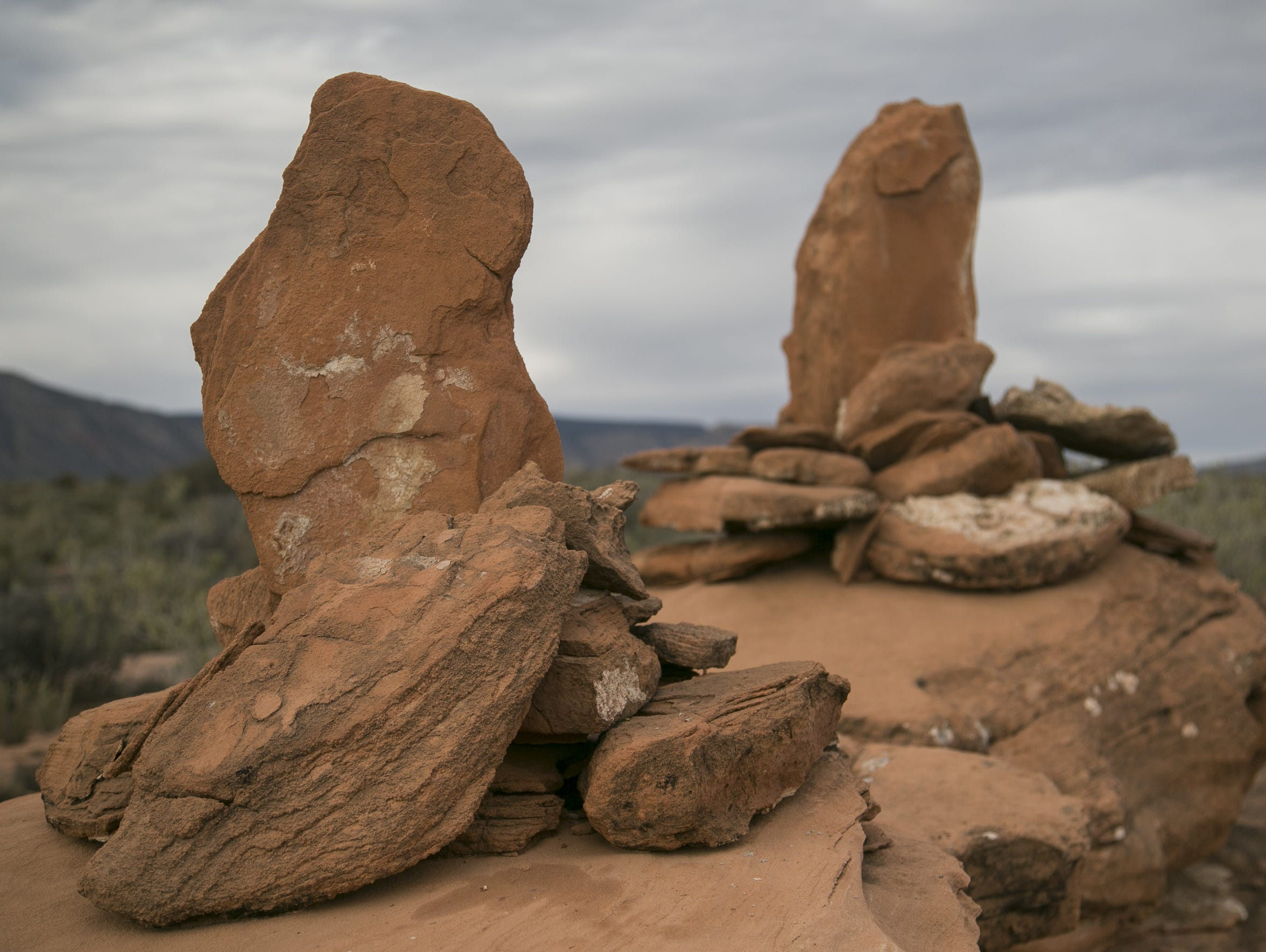 Rock cairns were used to mark mining claims in the