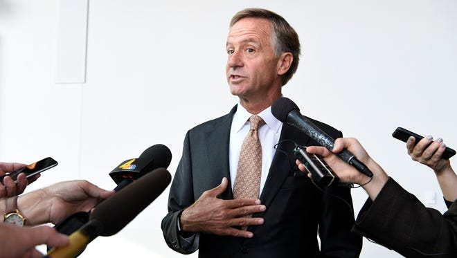 Gov. Bill Haslam answers questions about whether he will run for Sen. Bob Corker's Senate seat at Music City Center on Sept. 28, 2017.