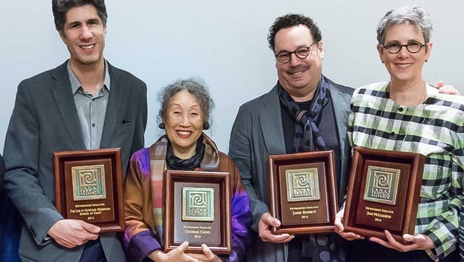 Jean McLaughlin (right) with the other recipients of the James Renwick Alliance Distinguished Educator Award: Paul Sacardiz, Jamie Bennett and Chunghi Choo.