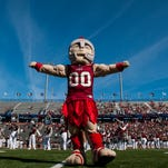 Troy mascot T Roy on the field before the Idaho game at Veterans Memorial Stadium in Troy, Ala. on Saturday October 17, 2015. (Mickey Welsh / Montgomery Advertiser)