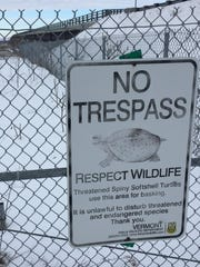 A sign in Alburgh marks as off-limits the causeway