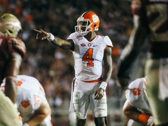 Deshaun Watson (4) points out defenders during Florida State's 37-34 loss to Clemson at Doak Campbell Stadium on Saturday, October 29, 2016.