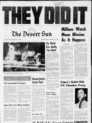 Front page of the July 21, 1969 Desert Sun with reports