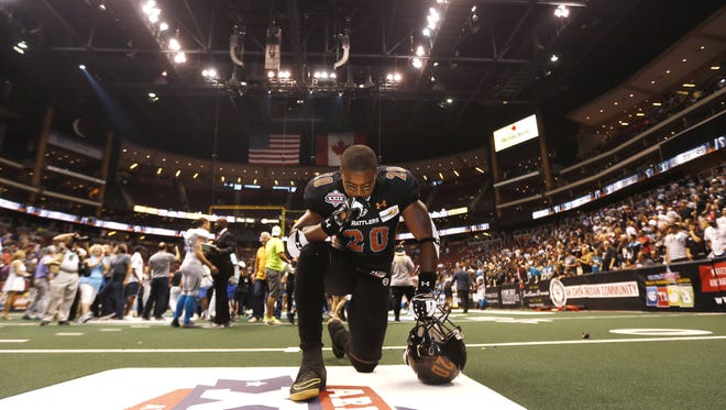 Rattlers' Jeremy Kellem takes a moment to himself after a loss to the Soul during Arena Bowl XXIX at Gila River Arena on August 26, 2016 in Glendale, Ariz.