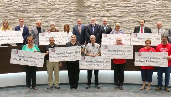 Local charities got their big checks recently for their efforts volunteering at Westland's Blues., Brews and Barbecue.