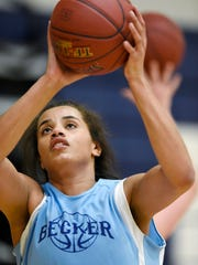 Becker's Alex Johnson concentrates on her shot during