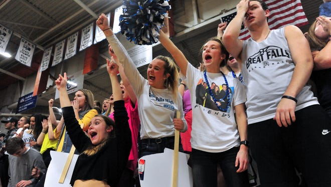 Great Falls High fans cheer on their team Tuesday night's crosstown basketball game against CMR in the Swarthout Fieldhouse.