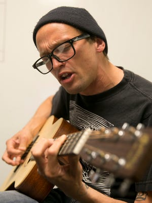 """Mikey Erg performs for the """"Fan Theory"""" podcast on May 23 at the Asbury Park Press offices in Neptue."""
