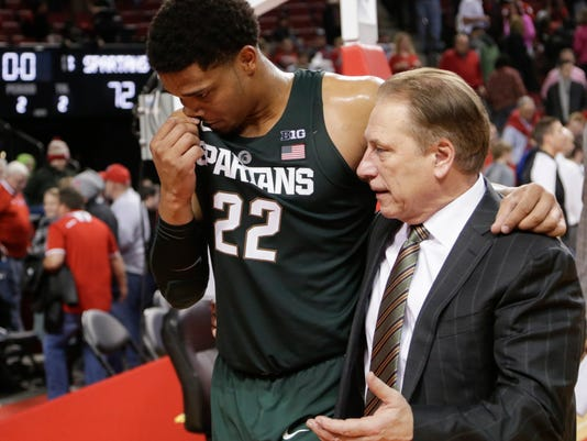 Michigan State coach Tom Izzo, right, walks off the court with Miles Bridges (22) following an NCAA college basketball game against Nebraska in Lincoln, Neb., Thursday, Feb. 2, 2017. (AP Photo/Nati Harnik)