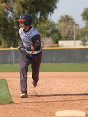Former Palm Desert High School player Travis Moniot plays for Orange Coast in a game against College of the Desert, February 20, 2017.
