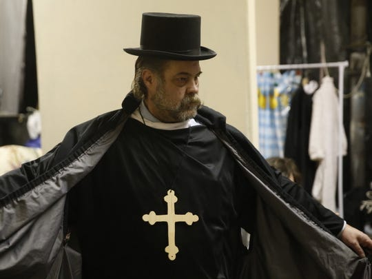 """Chuck Holmes portrays Father Chenille in the Theater Ensemble Arts production of """"Drinking Habits 2: Caught in the Act,"""" which opens this weekend in Farmington."""