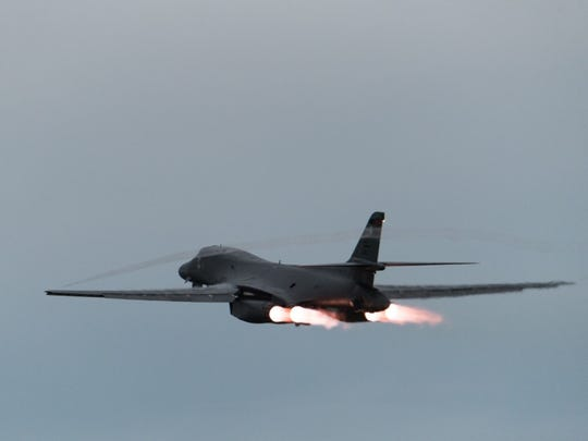 A U.S. Air Force B-1B Lancer assigned to the 37th Expeditionary Bomb Squadron, deployed from Ellsworth Air Force Base (AFB), S.D., takes off from Andersen AFB, Guam to fly sequenced bilateral missions with two Japan Air Self-Defense Force (JASDF) F-15s and two Republic of Korea air force (ROKAF) F-15Ks in the vicinity of the Sea of Japan, Oct. 10, 2017.