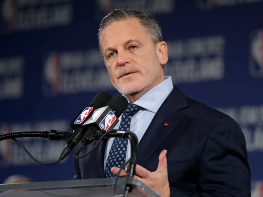 FILE - In this Nov. 1, 2018, file photo, Cleveland Cavaliers owner Dan Gilbert speaks during a news conference in Cleveland about the 2022 NBA All -Star game. Gilbert has been home for nearly a week in Detroit as he continues to recover from a stroke suffered in May. He had spent the past two months in a rehabilitation center in Chicago. On Thursday, Aug. 22, 2019, Quicken Loans CEO Jay Farner provided a brief update on the 57-year-old billionaire businessman. (AP Photo/Tony Dejak, File)