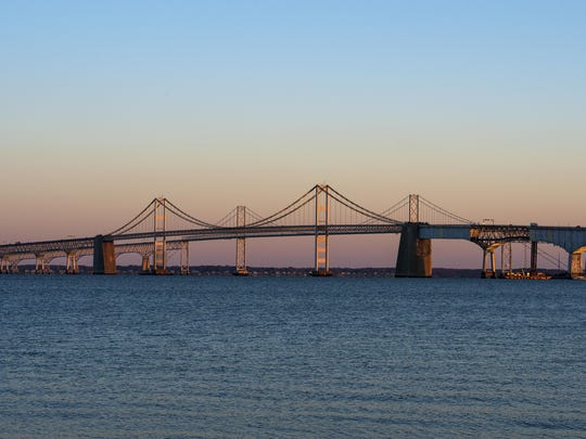 The Chesapeake Bay Bridge spans its namesake bay, whose