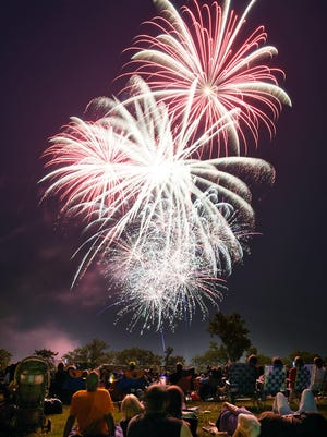 Mulit-colored bursts fill the sky during the 2015 Fourth of July fireworks display over the Mississippi River in St. Cloud.