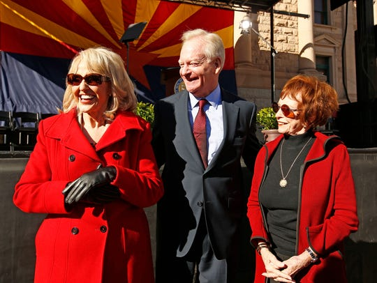 Republican former Arizona Govs. Jan Brewer, Fife Symington and Jane Dee Hull