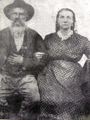 John Wesley Messick and Lydia Clotilda Frizzell Young on their wedding day in 1866.