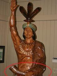 A shot of the tomahawk stolen from Kowaliga's Restaurant.