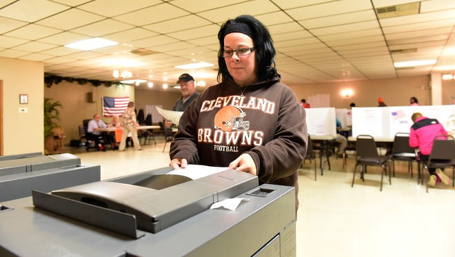 Jackie Boonie of Fremont casts her ballot on Tuesday.