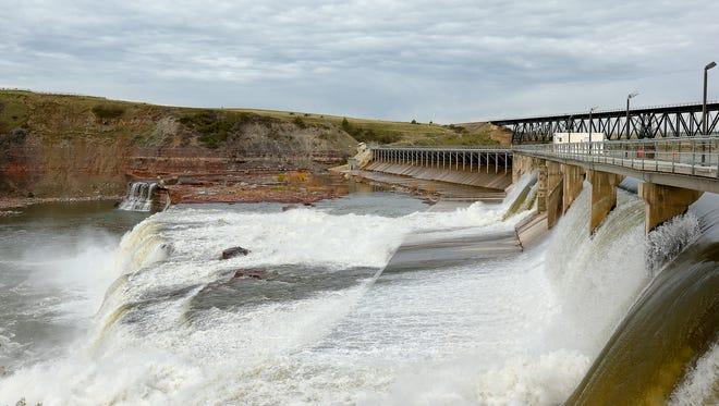 Water from the Missouri River flows through Rainbow  Dam.