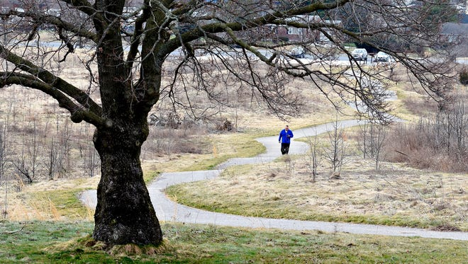 Dave Levitan, of West York, walks the Memorial Hospital walking paths at the future site of the hospital in West Manchester Township, Thursday, March 10, 2016. The trails will be closed March 21 as construction begins, and will remain closed until late 2017. Dawn J. Sagert photo