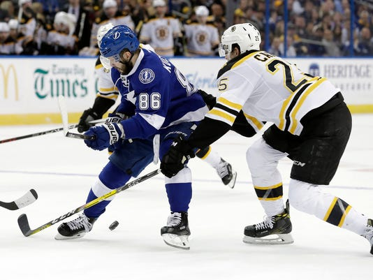 Tampa Bay Lightning right wing Nikita Kucherov (86), of Russia, loses the puck to a stick check by Boston Bruins defenseman Brandon Carlo (25) during the second period of an NHL hockey game Tuesday, Jan. 31, 2017, in Tampa, Fla. (AP Photo/Chris O'Meara)
