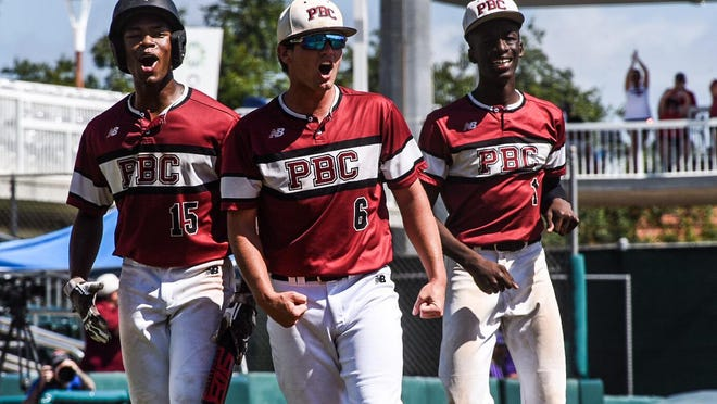 Palm Beach Central Broncos shortstop Michael Brooks (6) and outfielders Winston Parke (15), and Jaydon Graves (1) celebrate during a 3-1 lead during the Broncos' Class 9A state semifinal game against Sanford-Seminole on Thursday, May 30, 2019 at Hammond Stadium in Fort Myers.