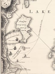 William Faden's map of the Battle of Valcour Island,