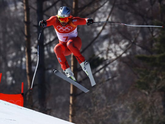 Norway's Aksel LundSvindal skis during the men's downhill at the 2018 Winter Olympics in Jeongseon, South Korea, Thursday, Feb. 15, 2018. (AP Photo/Alessandro Trovati)