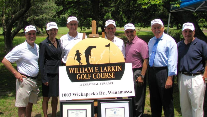At the June 4 dedication of the William J. Larkin Golf Course at Colonial Terrace:  (Left to right) Township of Ocean Councilman Robert V. Acerra Sr., Senator Jennifer Beck, former Township Mayor William F. Larkin, Township Mayor Christopher Siciliano, Monmouth County Freeholder Director Thomas A. Arnone, State Assemblyman Eric Houghtaling, Councilman William Garofalo.