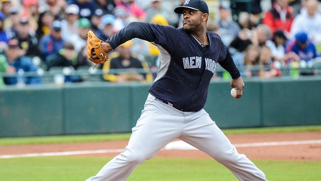 Yankees pitcher CC Sabathia throws during an exhibition game against the Pittsburgh Pirates on March 27.