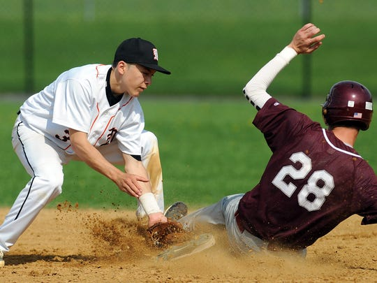 Marlboro High shortstop John Mooradian tags out New Paltz's Steve Branche.