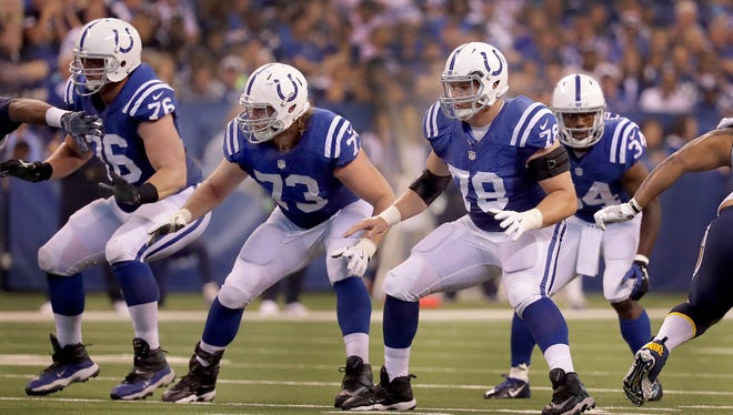 Indianapolis Colts center Ryan Kelly (78),right, and Indianapolis Colts  Joe Haeg (73) drops back in protection during the first half of an NFL football game Sunday, Sept. 25, 2016, at Lucas Oil Stadium.