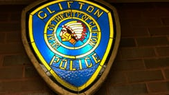 Shield outside of Clifton Police Headquarters.