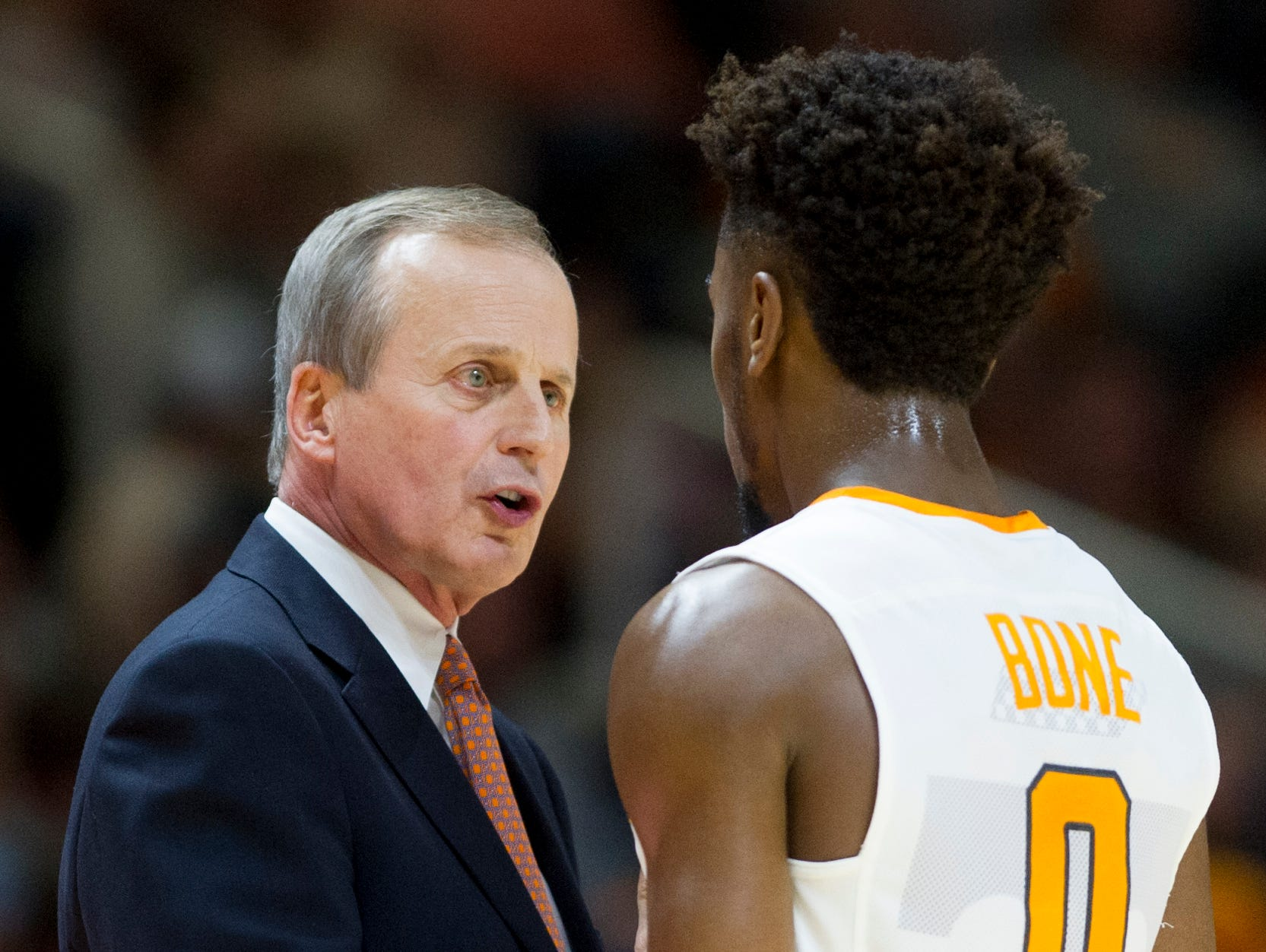 Tennessee coach Rick Barnes speaks with Tennessee's Jordan Bone (0) during an NCAA SEC basketball game between Tennessee and Georgia on Saturday, Feb. 11, 2017, at Thompson-Boling Arena in Knoxville.