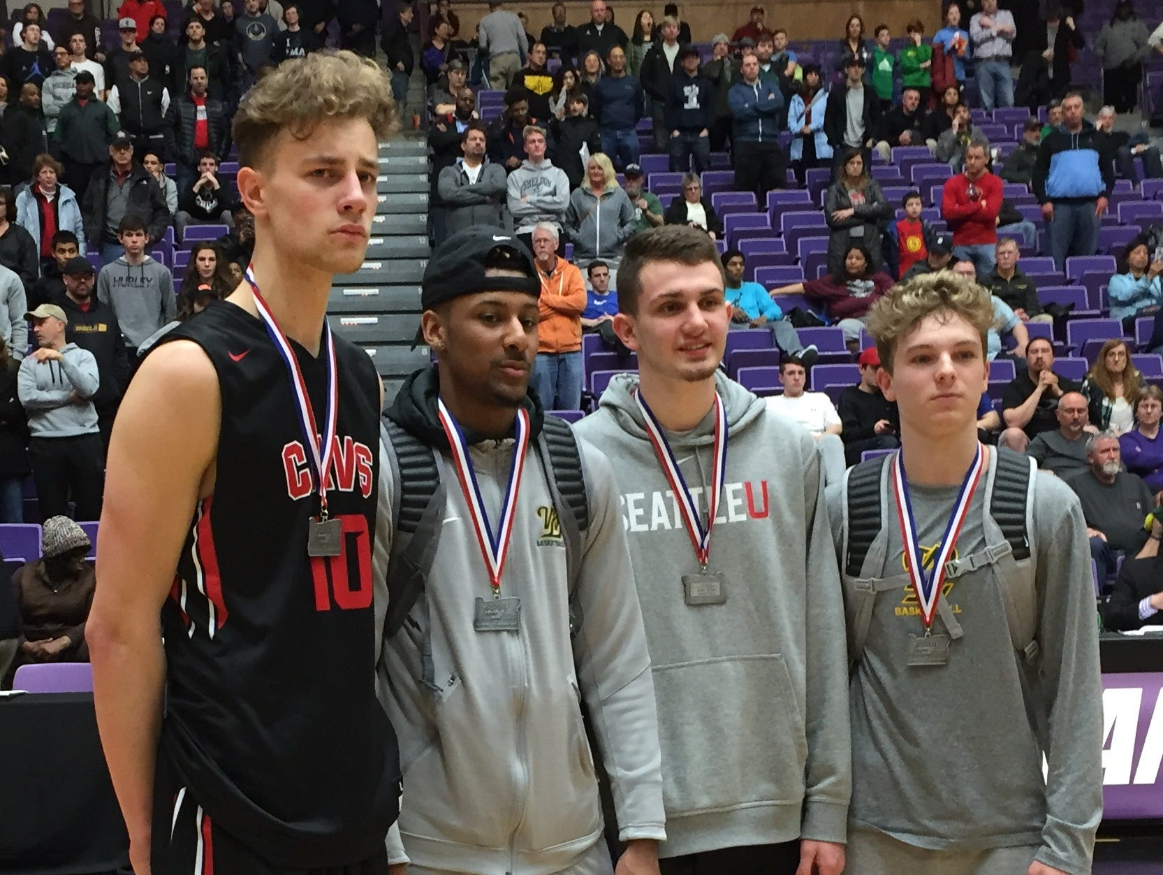 West Salem junior Kyle Greeley (second from right) was named second-team all-Class 6A state tournament.