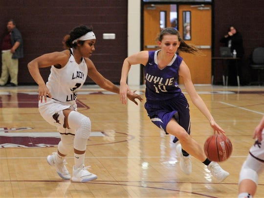 Wylie guard Abbey Henson (10) makes a move around Brownwood's Daisy Green (3) during the 50-44 win on Tuesday, Jan. 23, 2018.