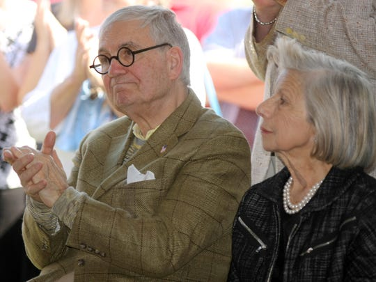 Philanthropists John and Mary Pappajohn were on hand for the ribbon-cutting ceremony at the sculpture park in 2009.