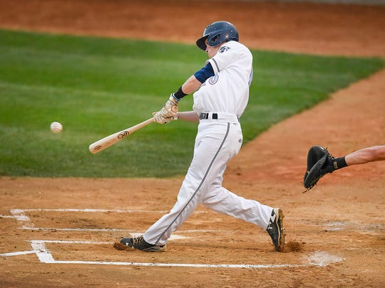 St. Cloud Rox batter Michael Strem hits a double against Willmar during the second inning Monday, Aug. 15, 2016, at Joe Faber Field.
