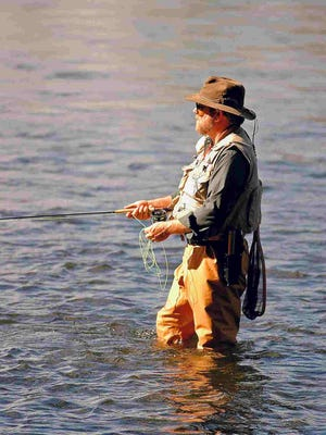 Bob Blount not only ties flies with his custom tools, he also enjoys using the fruits of his labors.