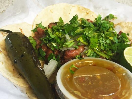 Tripitas (small intestine) tacos ($5.99) with cilantro,