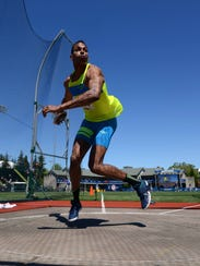 Jeremy Taiwo winds up to throw the discus at the U.S.