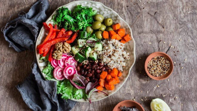 The beauty of a veggie-protein bowl is that you can let your taste buds rule. Just pick some in-season veggies and add a sauce, like the creamy hummus featured in the cilantro and lime bowl recipe below from ACME.