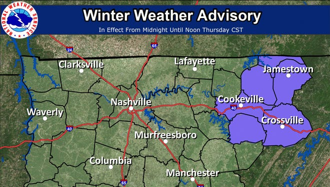 A dusting of snow is expected  across Middle Tennessee but it won't likely stick except in parts of the Cumberland Plateau.