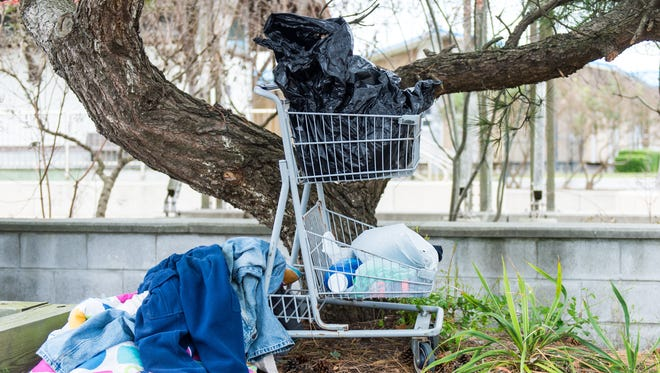 A collection of a homeless resident's belongings in Ocean City's Sunset Park.