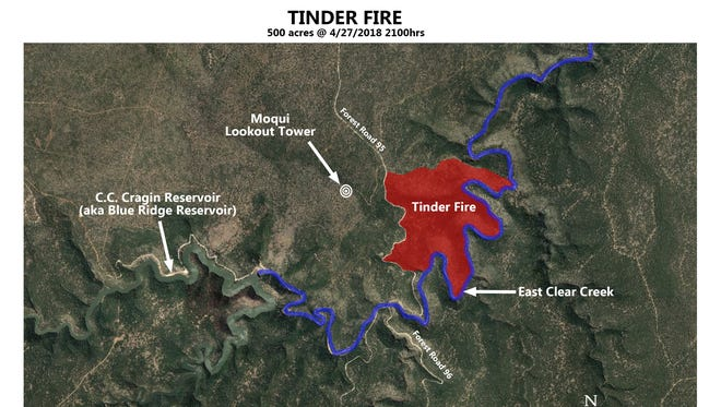 The Tinder Fire, located approximately 9 miles directly east of Clints Well, has grown to about 500 acres in and around East Clear Creek just east of C.C. Cragin Reservoir atop the Mogollon Rim on April 28, 2018.